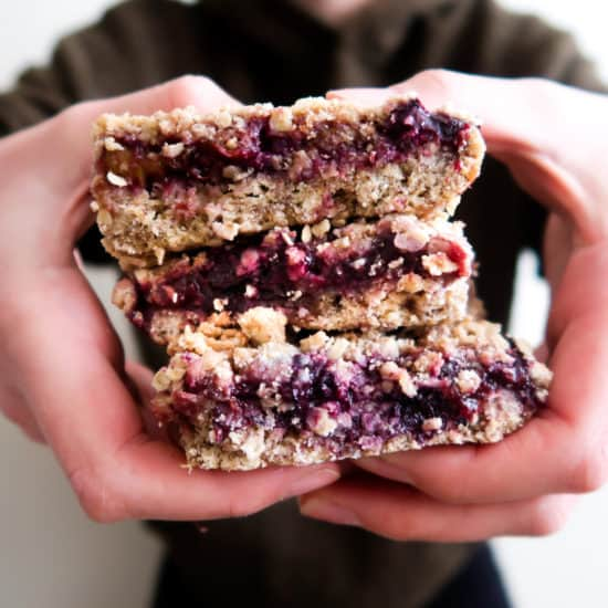 Rhubarb and Blueberry Crumble Bar Stack
