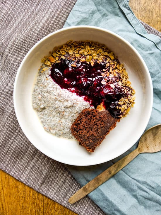 chia seed pudding with stewed blueberries