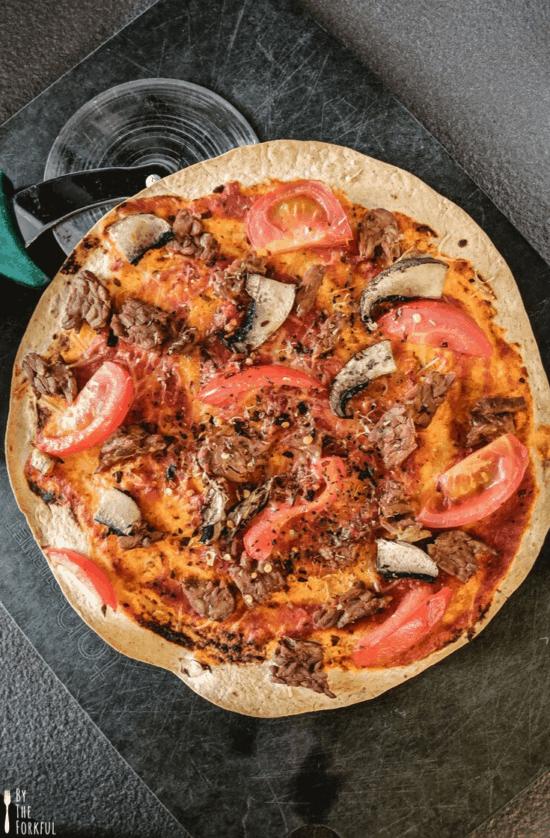 vegan tortilla pizza